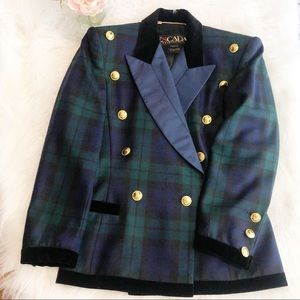 ESCADA Vintage Plaid Tartan Double Breasted Blazer